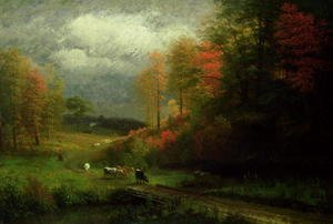 Albert Bierstadt - Rainy Day in Autumn, Massachusetts, 1857