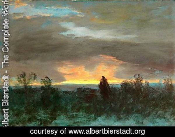 Albert Bierstadt - Sunset -Landscape