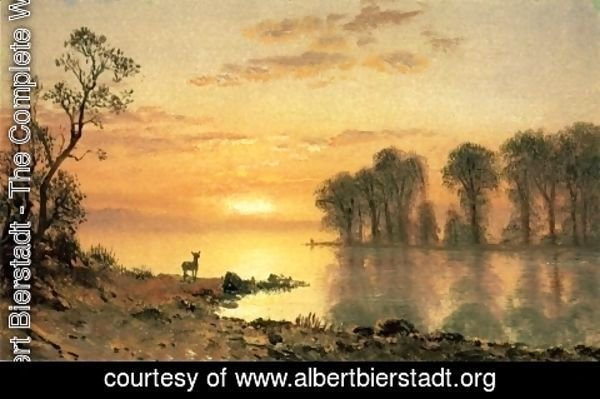 Albert Bierstadt - Sunset, Deer, and River