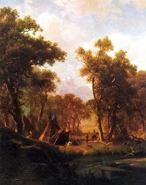Albert Bierstadt - Indian Encampment, Shoshone Village