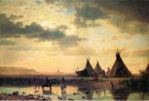 Albert Bierstadt - View of Chimney Rock, Ogalillalh Sioux Village in Foreground
