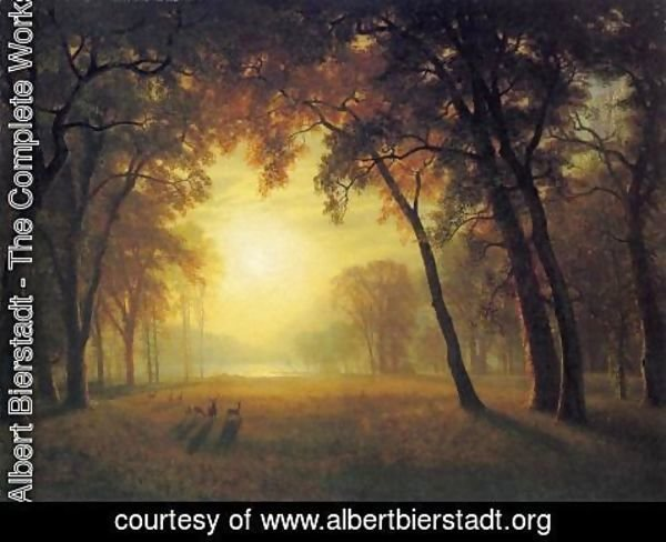 Albert Bierstadt - Deer in a Clearing