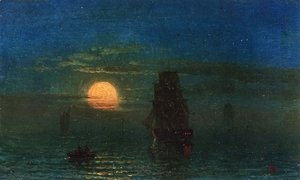 Albert Bierstadt - Ships in Moonlight