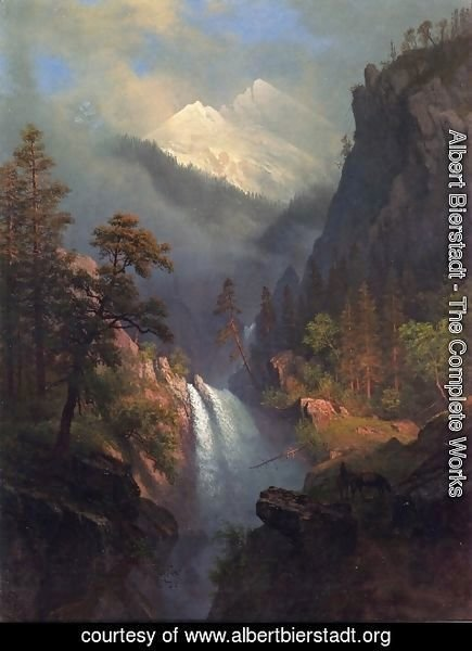 Albert Bierstadt - Cascading Falls at Sunset