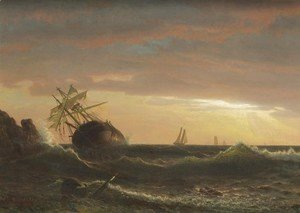 Albert Bierstadt - Beached Ship