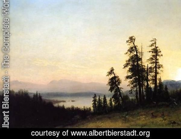 Albert Bierstadt - Landscape with Deer, View of Estes Park, Colorado