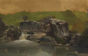 Albert Bierstadt - Rocks and Stream, Westphalia, Germany