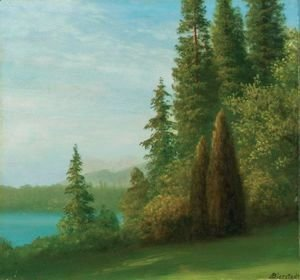 Albert Bierstadt - Landscape With Trees And Lake