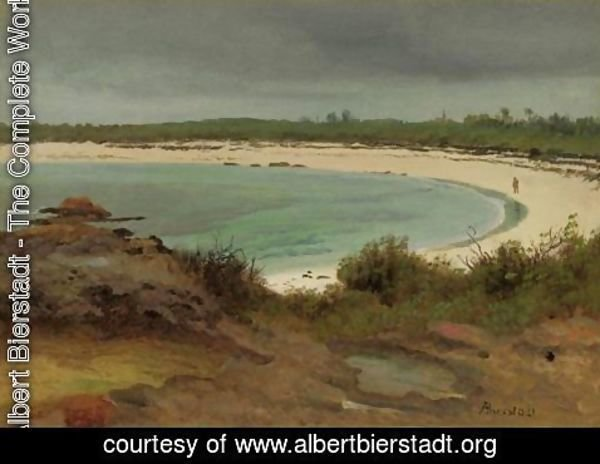 Albert Bierstadt - Cove With Beach And Church