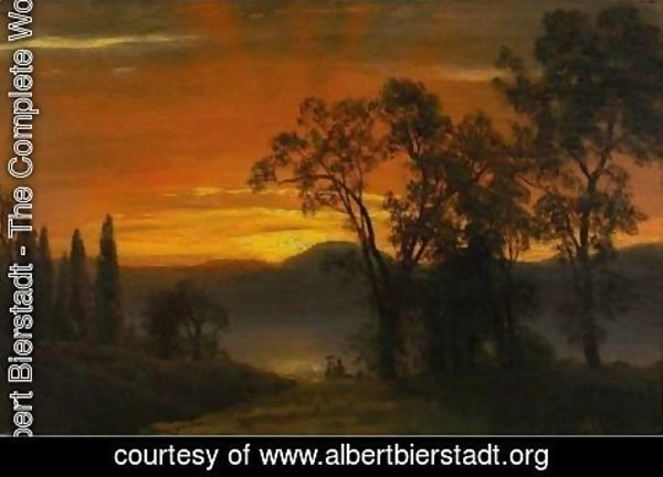 Albert Bierstadt - Sunset Over The River 2