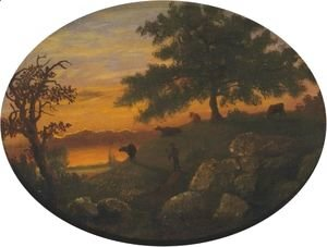 Albert Bierstadt - Cattle At Sunset