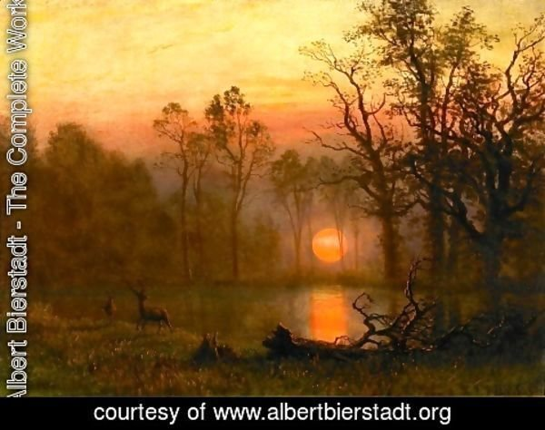Albert Bierstadt - Sunset Over the Plains