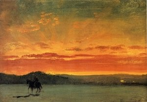 Albert Bierstadt - Indian Rider at Sunset
