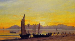Albert Bierstadt - Boats Ashore At Sunset