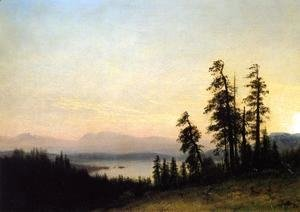 Albert Bierstadt - Landscape With Deer