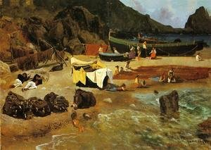 Albert Bierstadt - Fishing Boats At Capri