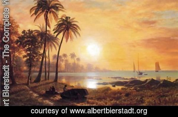 Albert Bierstadt - Tropical Landscape With Fishing Boats In Bay
