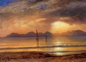 Albert Bierstadt - Sunset Over A Mountain Lake2
