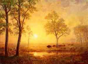 Albert Bierstadt - Sunset On The Mountain