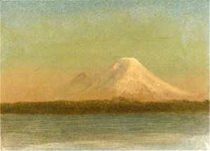 Albert Bierstadt - Snow Capped Moutain At Twilight