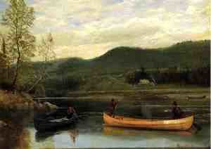 Albert Bierstadt - Men In Two Canoes
