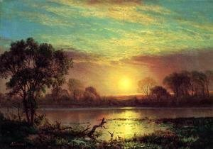 Albert Bierstadt - Evening  Owens Lake  California