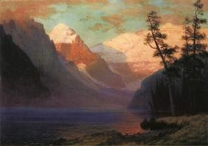 Albert Bierstadt - Evening Glow  Lake Louise