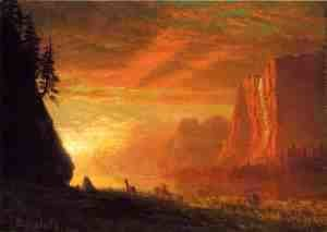 Albert Bierstadt - Deer At Sunset