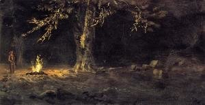 Albert Bierstadt - Campfire  Yosemite Valley