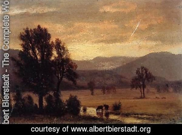 Albert Bierstadt - Landscape With Cattle