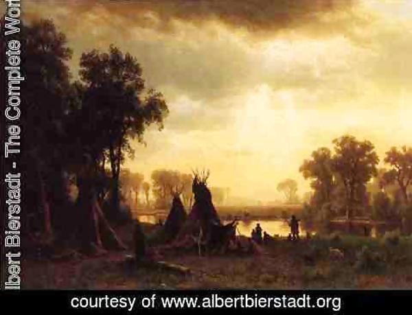 Albert Bierstadt - An Indian Encampment