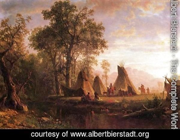 Albert Bierstadt - Indian Encampment  Late Afternoon