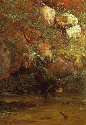 Albert Bierstadt - Ferns And Rocks On An Embankment