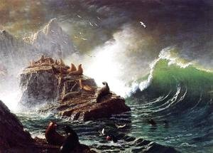 Albert Bierstadt - Seals On The Rocks  Farallon Islands