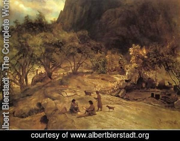 Albert Bierstadt - Mariposa Indian Encampment  Yosemite Valley  California