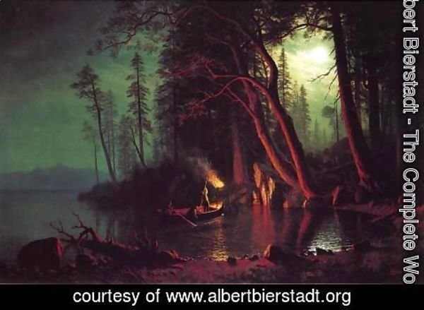 Albert Bierstadt - Lake Tahoe  Spearing Fish By Torchlight